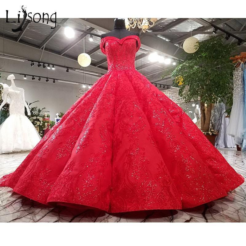 Saudi Arabic Dubai Red Wedding Dresses Puffy Lace Crystal Bridal Gowns Sweetheart Off Shoulder Royal Train Vestido De Noiva 2018
