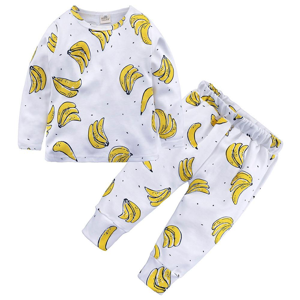 Toddler Baby Boy Girl Kids Floral Tops T-shirt Pants Pajama Sleepwear 2Pcs Set