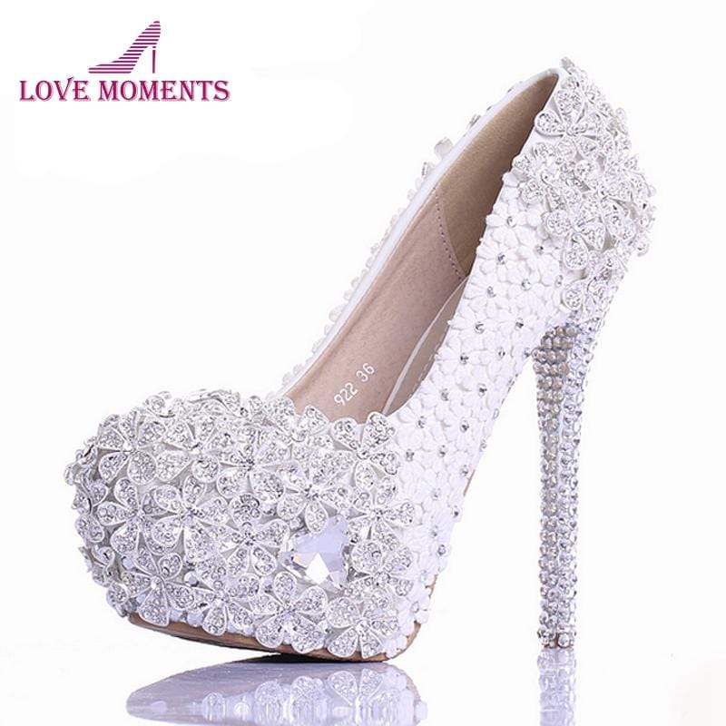 a947adc4025213 White Lace Flower Rhinestone Wedding Shoes Luxury Handmade High Heel Bridal  Shoes Evening Prom Pumps 2018