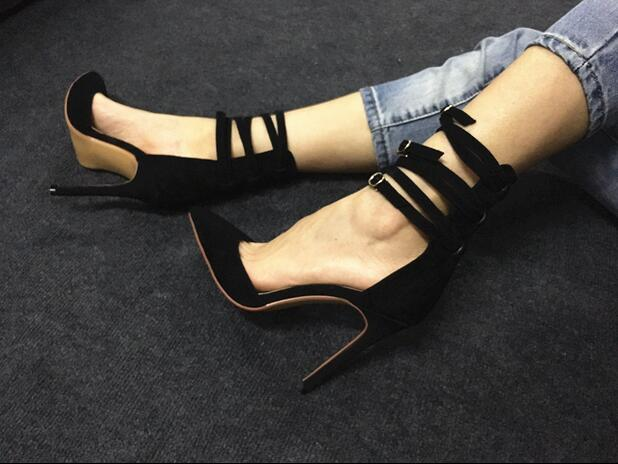 Gullick Red Ankle Straps High Heels Pumps Pointed Mixed Colors Patchwork Cut-out Thin Heels Dress Shoes Sexy Strappy Sandals