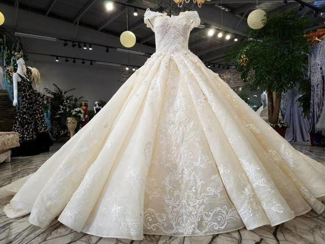 New Luxurious Arabic Vintage Lace Crystal Beading Flower Ruffle Wedding Dress Bride Princess WOW Wedding Dresses Bridal Gown