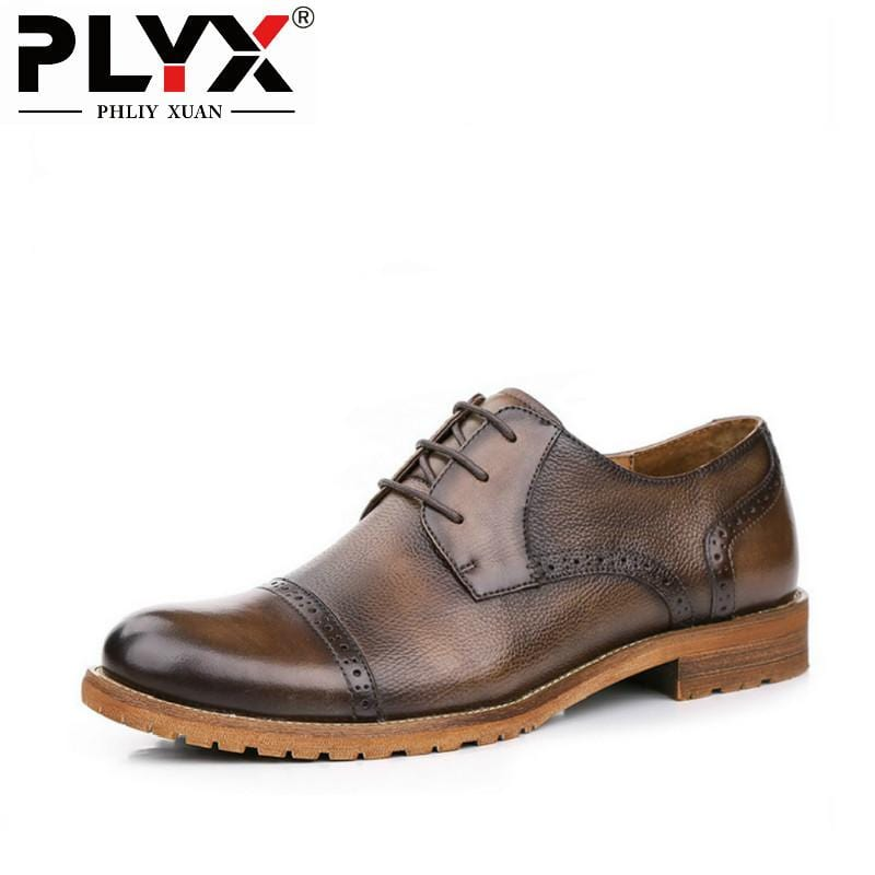 PHLIY XUAN 2018 British Retro Male Shoes Genuine Leather Italian 100% Handmade Chaussure Homme De Marque Mens Shoes Casual