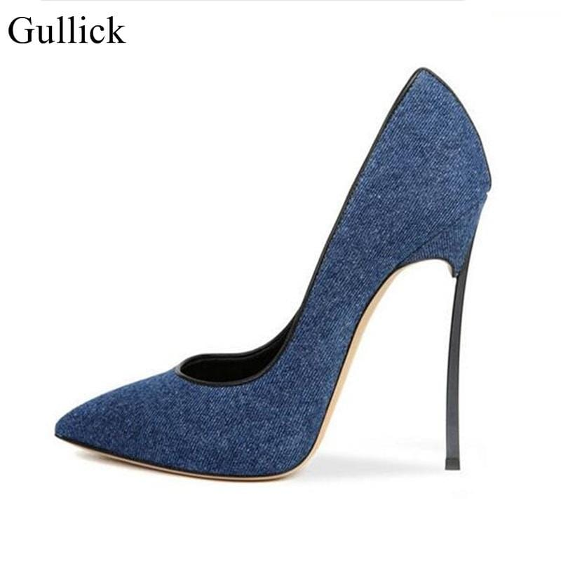 Gullick Dark Blue Denim High Heels Pumps Pointed Toe Metal Blade Heels Dress Shoes For Women Slip-on Lady Party Shoes Size 10