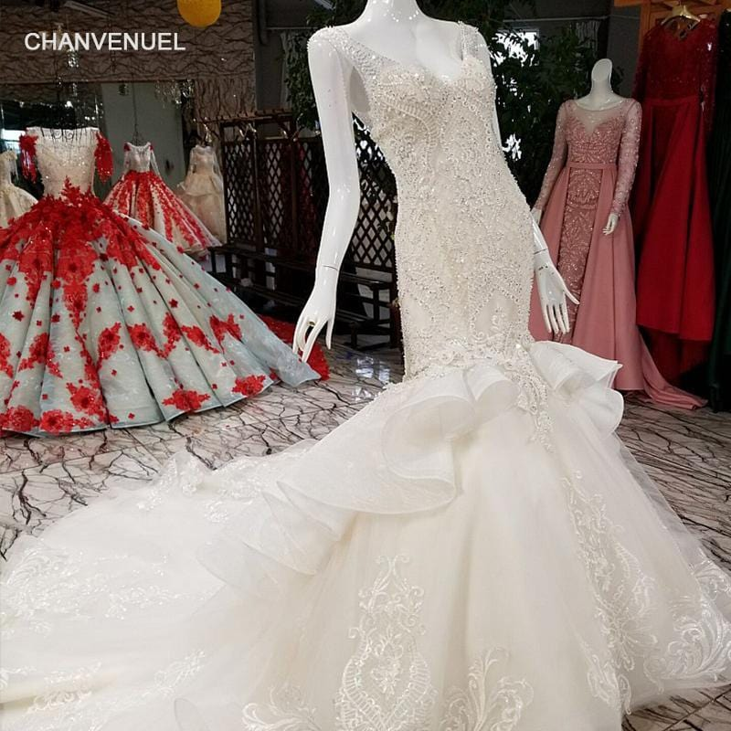 LS29332 luxury mermaid wedding dress 2018 v-neck sleeveless lace up illusion fashion back ivory dress for wedding with rain