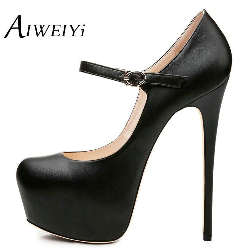 AIWEIYi High Heeled Platform Shoes For Women 2018 Patent Leather Party Fashion Round Toe Buckle Strap Wedding High Heel Shoes