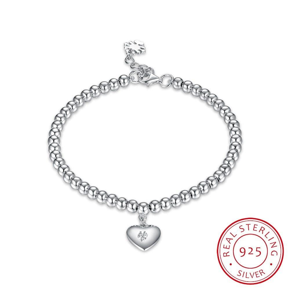S925 Sterling Silver Ladies Fashion Bracelet Simple Heart-Shaped Romantic Bracelet - EM