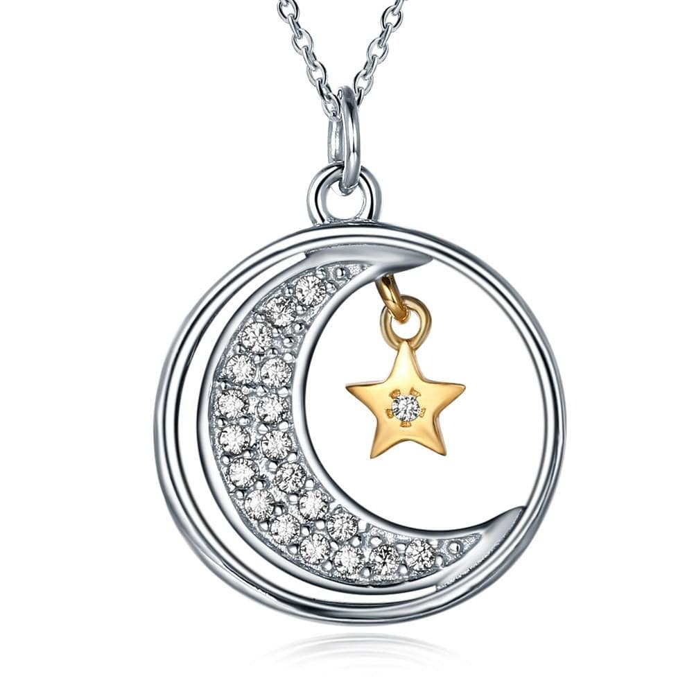 925 Sterling Silver Necklace Moon Star Romantic Lettering Moonandback - EM