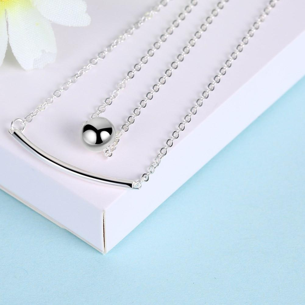 925 Sterling Silver Necklace Double Chain Double Strap Boutique Necklace Fashion Round Bead Necklace - EM