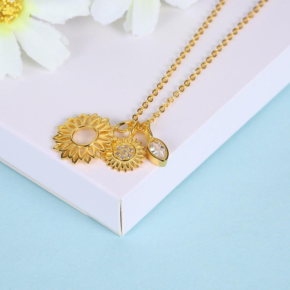 925 Sterling Silver Necklace beautiful sunflower pendant fashion jewelry - EM