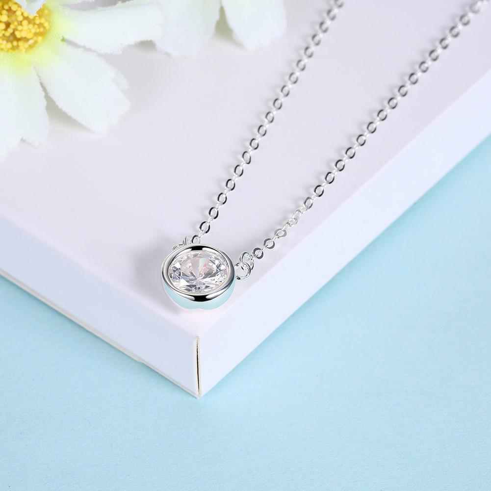 925 Sterling Silver Necklace mini round diamond pendant fashion cute Necklace - EM