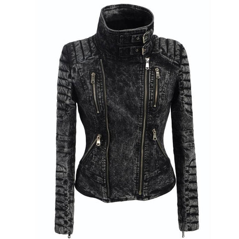 2018 Fashion Rock Neck Buckle Women's Denim Jacket Gothic Black Ruched Sleeves Turtleneck Zipper Hasp Jeans Coat Slim Outerwears