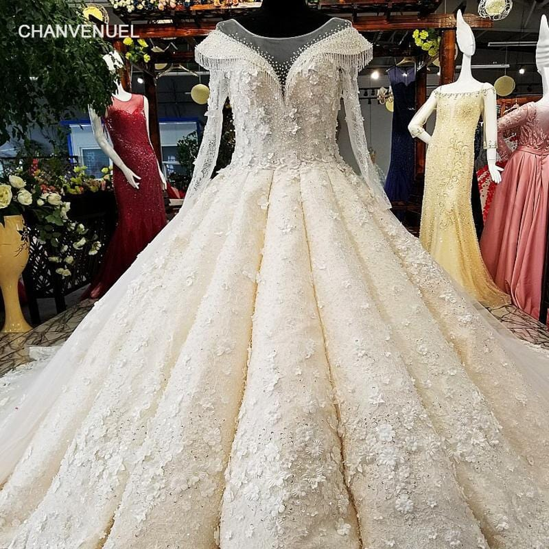LS00460 3D flowers wedding dress o-neck long tulle sleeves ball gown lace up back bridal wedding gown with long train as photos