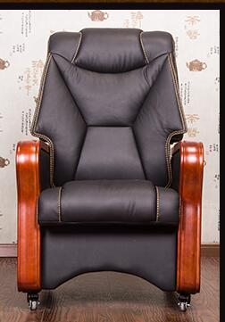 Four-legged boss chair real leather can massage chair real wood swivel chair fixed pulley old man office chair..03 - EM