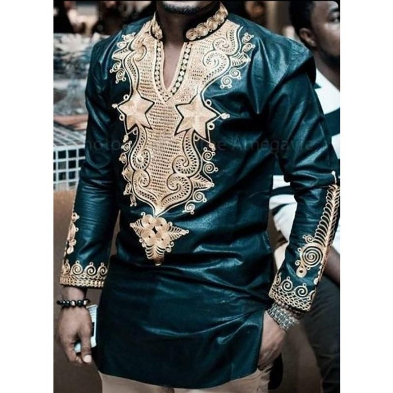 African Dresses 2018 Africa Riche Men New Arrival Hot Selling National Custume Big Totem Printing Long Sleeves Shirt Men Shirts - EM