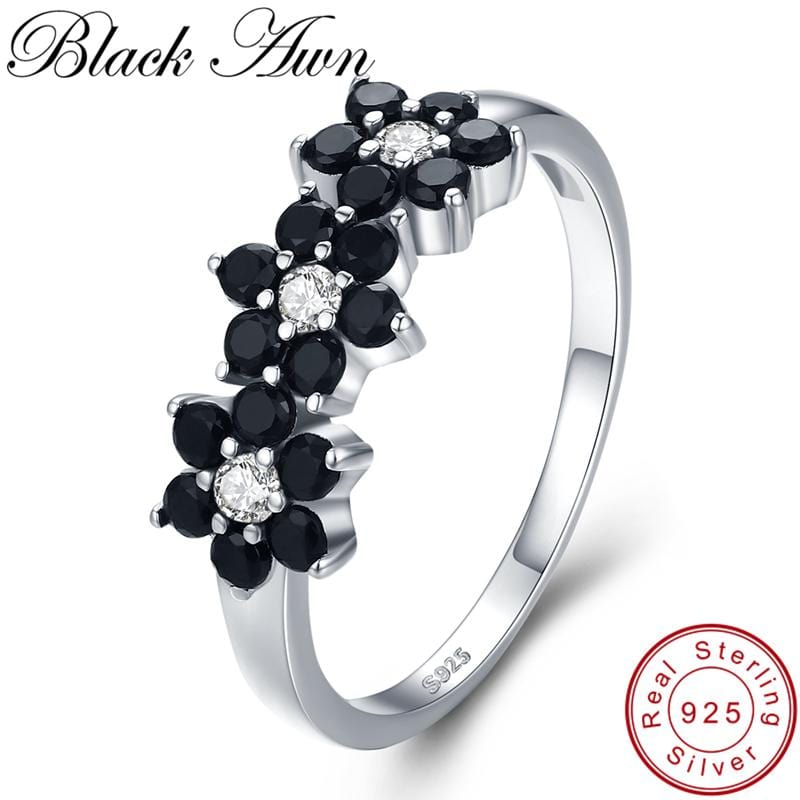 [BLACK AWN] Vintage 2.1g 925 Sterling Silver Jewelry Bague Flower Black Spinel Engagement Rings for Women Girl Gift C464