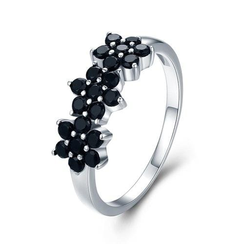 8cfcddd688117 [BLACK AWN] Vintage 2.1g 925 Sterling Silver Jewelry Bague Flower Black  Spinel Engagement Rings for Women Girl Gift C464
