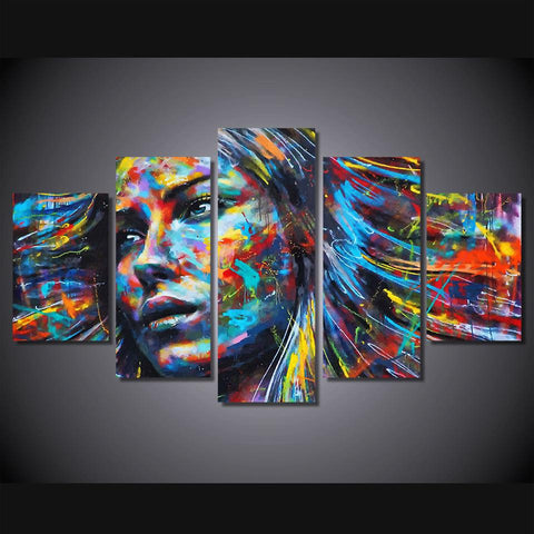 5 Panel Colorful Hair Woman Face Canvas HD Printed Poster Frame Painting Modular Living Room Wall Art Tableau Peinture Sur Toile - EM