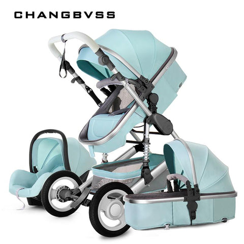 New Style Baby Stroller 3 In 1 Luxury Folding Newborns Carriage With Car Seat 0~3Years Baby Prams Sleeping Basket Kid poussette - EM