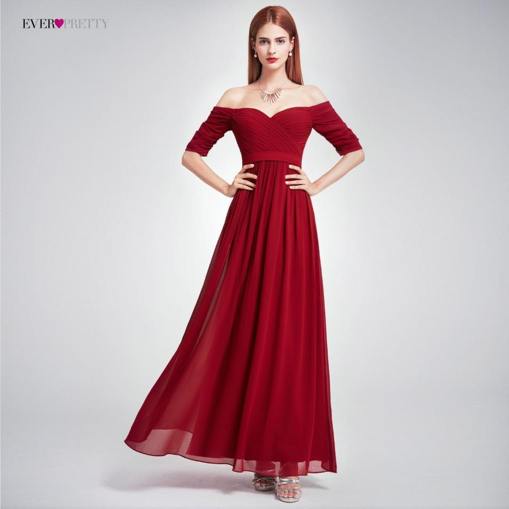 Elegant Long Evening Dress Ever Pretty EP07411 Women Elegant Off The Shoulder A Line Chiffon Long Formal Party Dress 2018