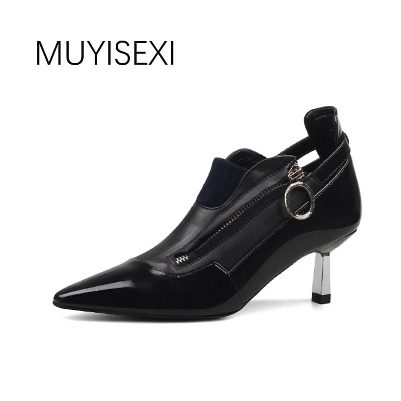 Women Shoes High Heel Black Genuine Leather Pointed Toe Metal Thin Heels Autumn Shoes for Women Women Pumps HL46 MUYISEXI