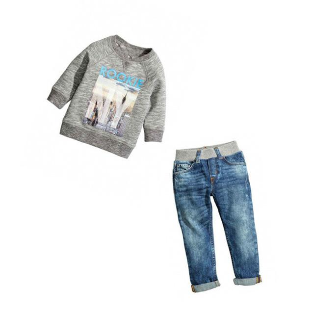 2018 Kids Clothes Boys Spring Clothing Sets Custumers For Baby Boy Roupas Infantis Menino Children T-shirt+Denim Jeans enfant - EM