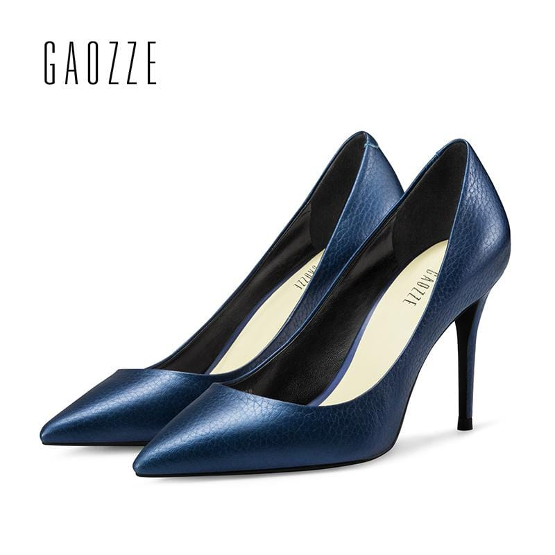GAOZZE Sapphire Blue Leather Wrinkle Women's Shoes Pumps Pointed Toe Stiletto High Heel Pumps Slip-On Office Shoes 2018 Spring