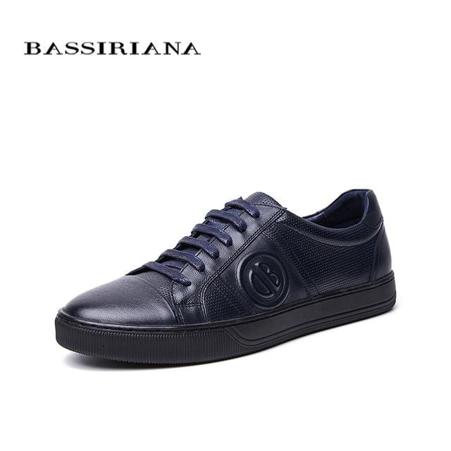 BASSIRIANA New 2018 Genuine Leather men casual shoes lace up comfortable round toe blue spring autumn 39-45 size handmade