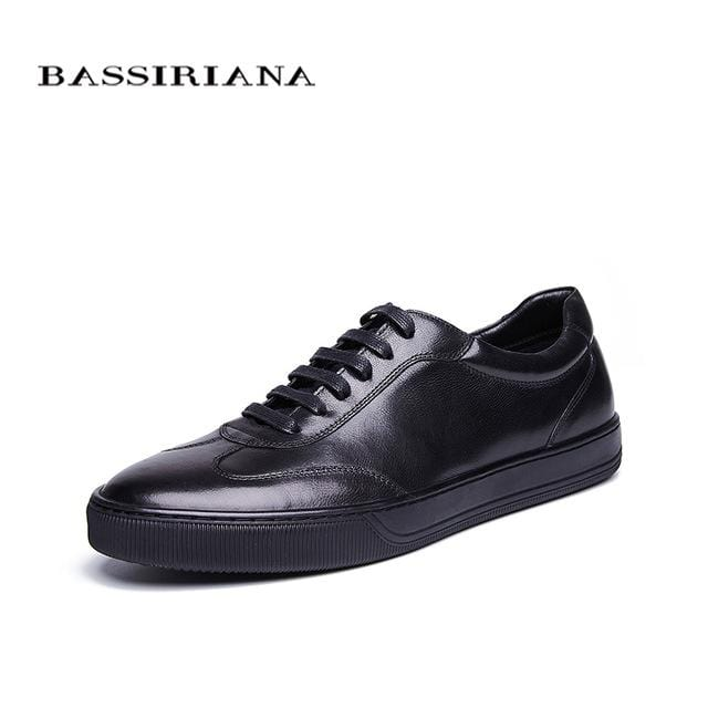 BASSIRIANA New Genuine cow Leather men shoes casual lace up comfortable breathable black blue spring autumn 39-45 size handmade