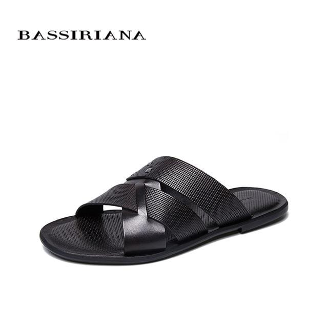 BASSIRIANA 2018 New Men's Sandals Comfort Leather Black Brown Free Shipping