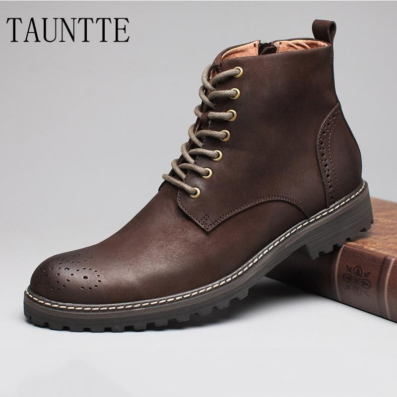 Tauntte Winter Cow Leather Ankle Boots Men Retro Bullock Carving Flower Martin Boots