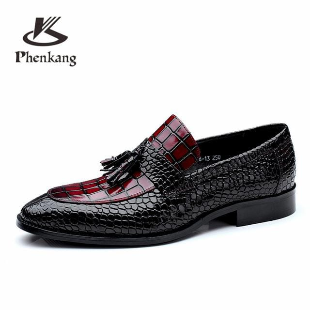 Men genuine leather flat wedding shoes mens wine red black brogue business casual party gentleman wedding shoes CHENGYUAN