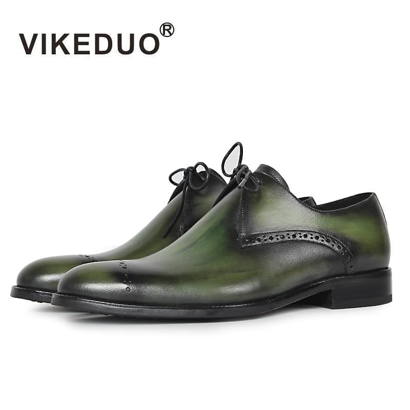 Vikeduo 2018 Designer Handmade  fashion Luxury Wedding Party Genuine Leather green Derby brogue Dress Shoes men