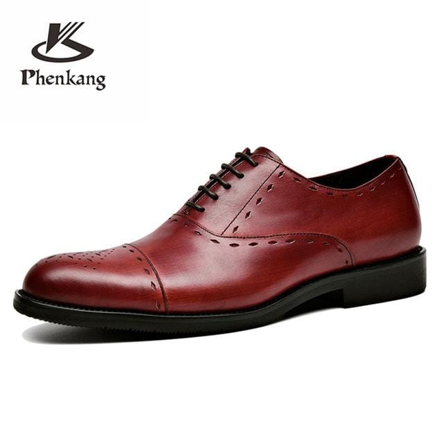 Men genuine flats leather shoes luxury business brown black lace up Dress Shoe men large size Wedding Shoes 899