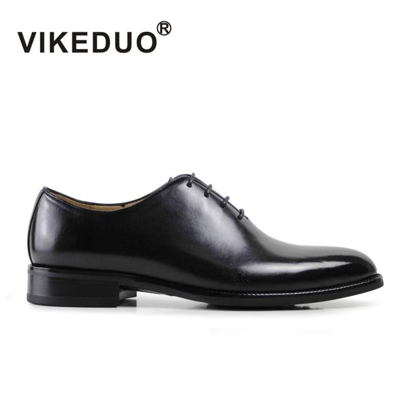 Vikeduo Men's Formal Oxford Shoes Genuine Leather Black Fashion Office wedding Business Work Male dress shoes