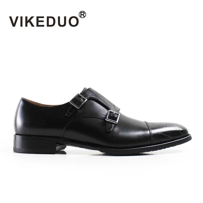 Vikeduo 2018 Fashion Wedding Party Black dance brand Genuine Leather Men's double monk strap shoes