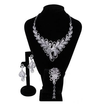 Luxurious Bridal jewelry sets Necklace+Bracelet+earrings+ring large wedding party accessories bijoux flower 4pcs jewellery set