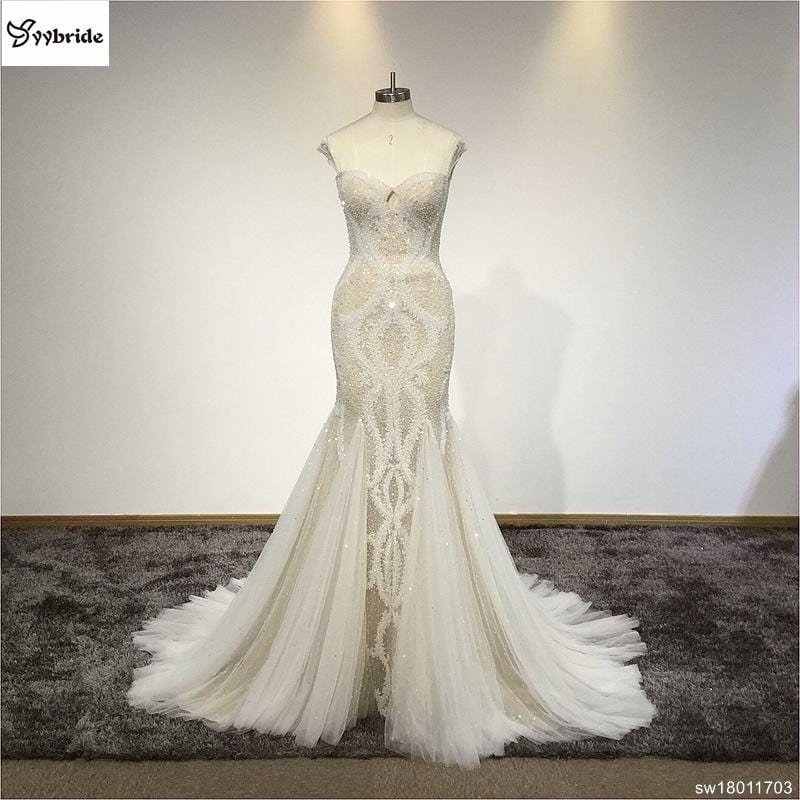 Romantic Lace Beading Mermaid Wedding Dress Backless Sleeveless Court Train Fashion Crystals Wedding Gowns Vestido de noiva