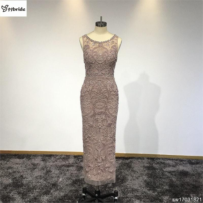 Gorgeous mermaid Lace Sheath Mother Dresses Sleeveless Pearls Beading Wedding Party Gowns Customized Evening Dresses