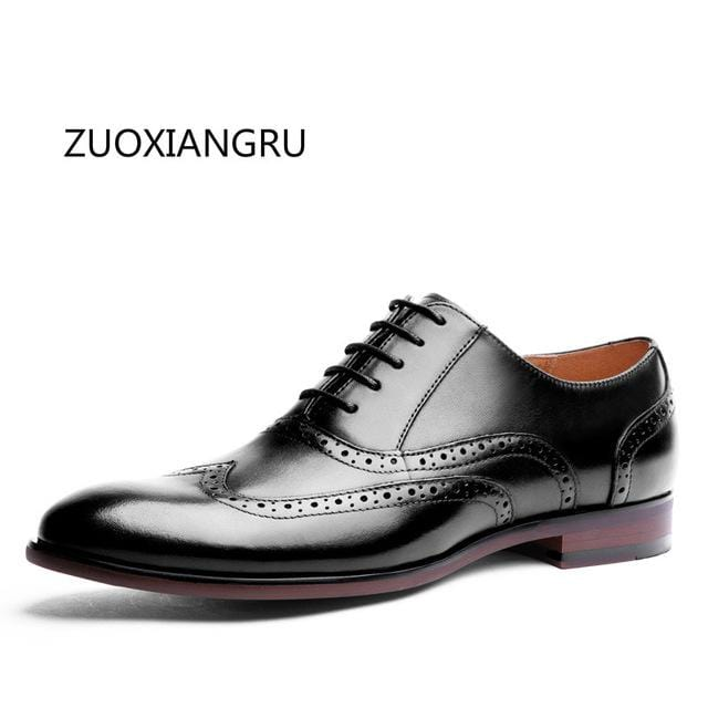 High-quality Leather Shoes Business Lace-up Pointed Toe Stylish and Comfortable Dress Men Toe Microfiber Flats
