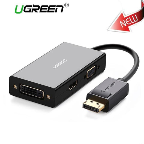 Ugreen 3 in 1 Displayport DP to HDMI VGA DVI Adapter 4K Male to Female Display Port Cable Converter For HP PC Laptop Projector - EM