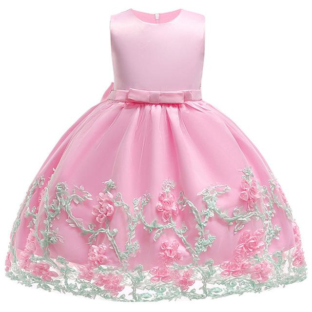 Toddler Girls Baby Princess Dress 2018 Flower Lace Princess Children tutu Dress For Wedding Girls Party Ceremony Custumes - EM