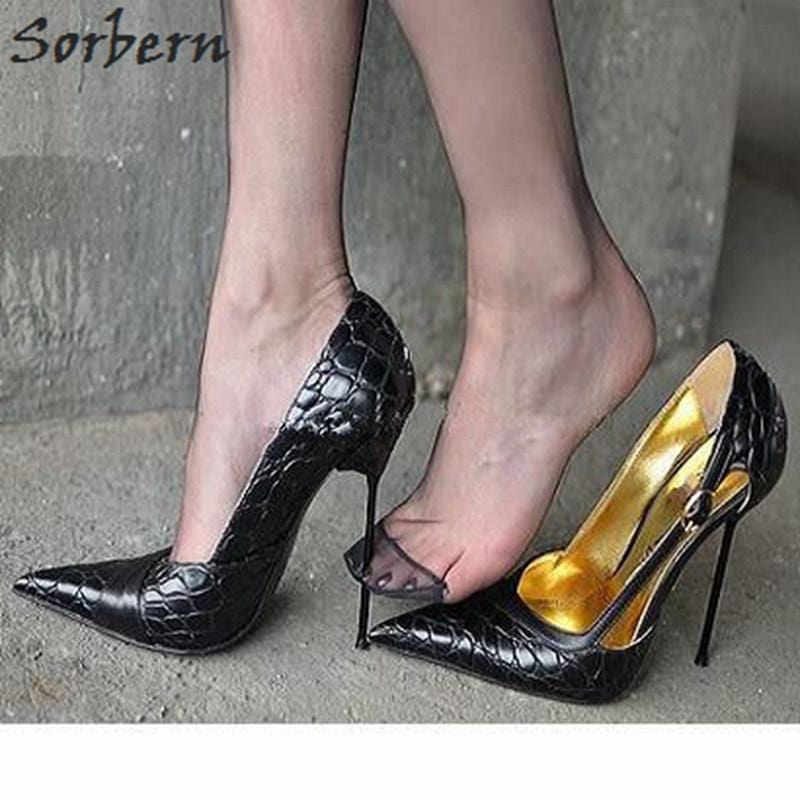 Sorbern Transsexuals Pointed Toe Slip On Women Pumps High Heel Thin Metal Heels Cross Dressing Shoes Fetish Unisex Shoes 52