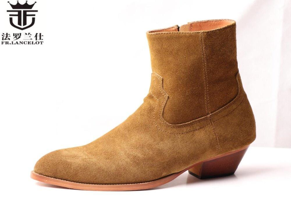 FR.LANCELOT fashion Chelsea boots men real suede leather boots British Style zip up ankle shoes high top med heel men boots