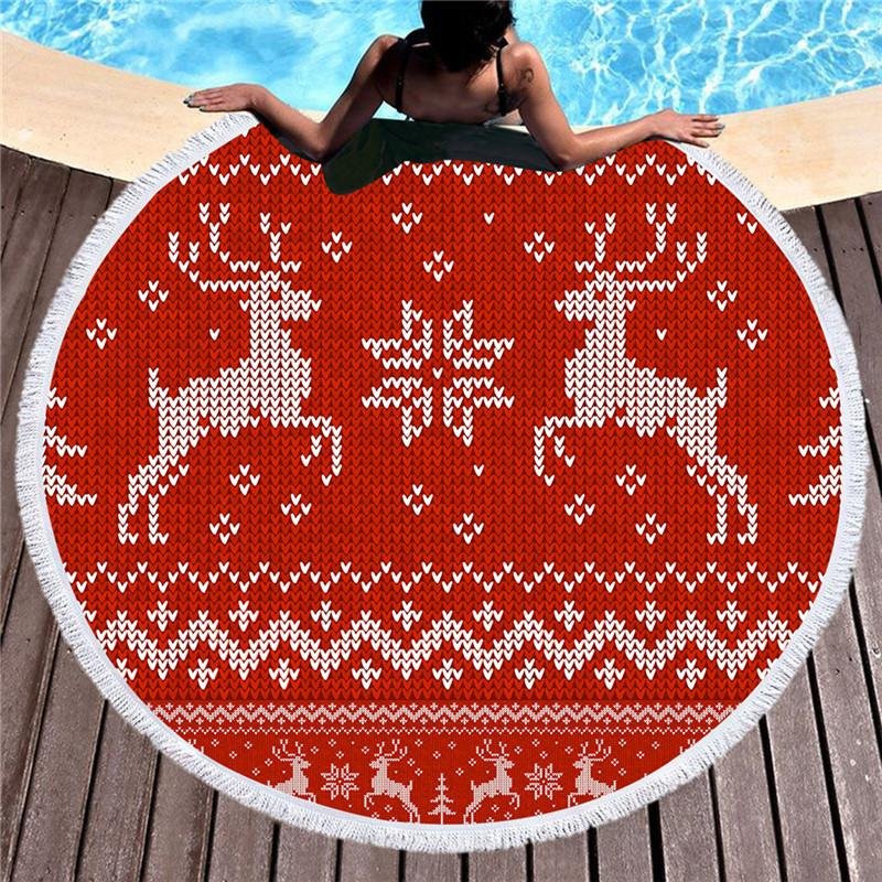 BeddingOutlet Microfiber Large Round Beach Towel for Kids Cartoon Printed Tapestry Elk Towel Blanket 150cm Yoga Mat With Tassel - EM