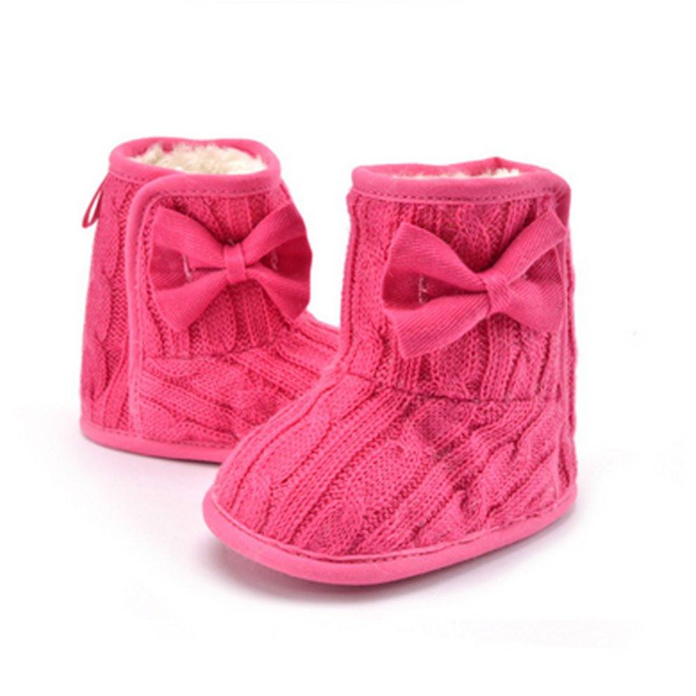 5e9a68cedec1 Winter Warm Thicken Baby s Shoes Soft Sole Prewalker Knit Bowknot Faux  Fleece Snow Boot Cute Boys