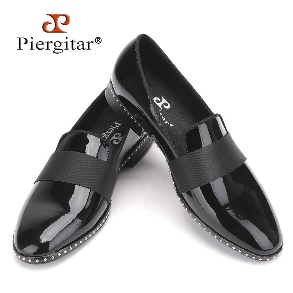 Handmade Patent leather with black buckle men loafers Fashion Europe luxury brand party and wedding men dress shoes men's flats