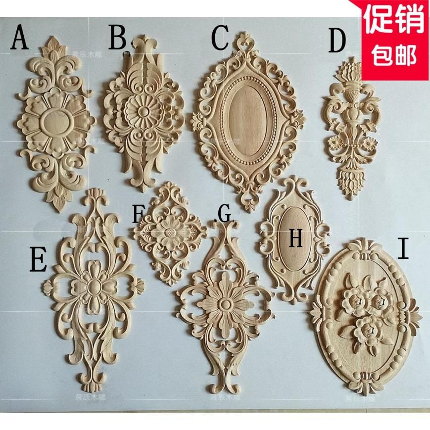Large size European long wooden carving door flower, furniture door decals, Home improvement(A735)