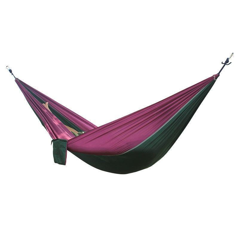 Best 2 People Portable Parachute Hammock for outdoor Camping(Dark green with purple side) 270*140 cm