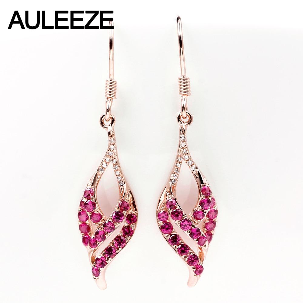 AULEEZE 0.76ct Natural Ruby Drop Earrings 18K Rose Gold Real Diamond Earrings For Women Wedding Gematone Jewelry Gifts - EM