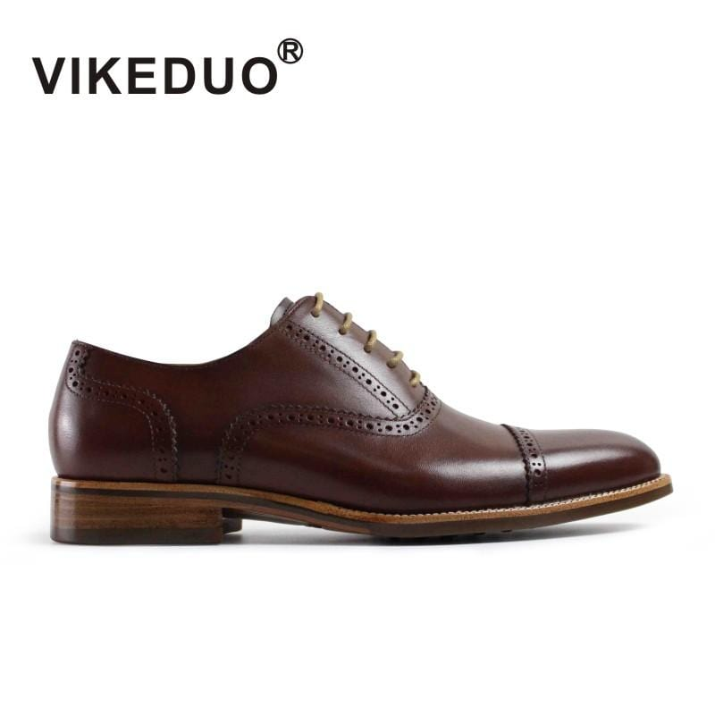 VIKEDUO vintage retro Mens Oxford Shoes 100% genuine leather luxury party wedding dress Shoes hand painted Lace-Up unqiue design
